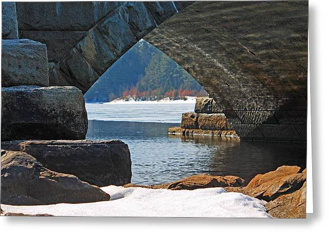 Central Ma Greeting Cards - View of Wachusett Reservoir from Under Bridge Greeting Card by Michael Saunders