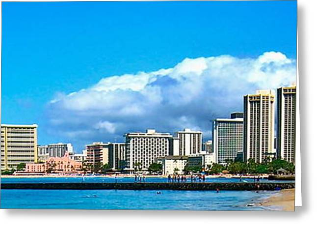 Jan Vermeer Photographs Greeting Cards - View of Waikiki - No.213 Greeting Card by Joe Finney
