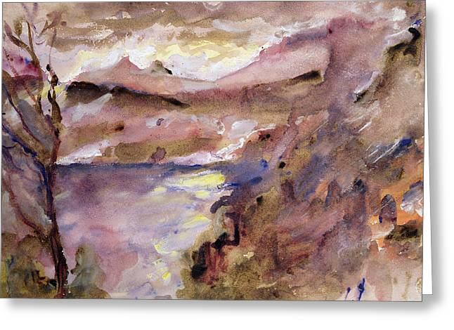 Ravine Greeting Cards - View of Walchen Lake Greeting Card by Lovis Corinth