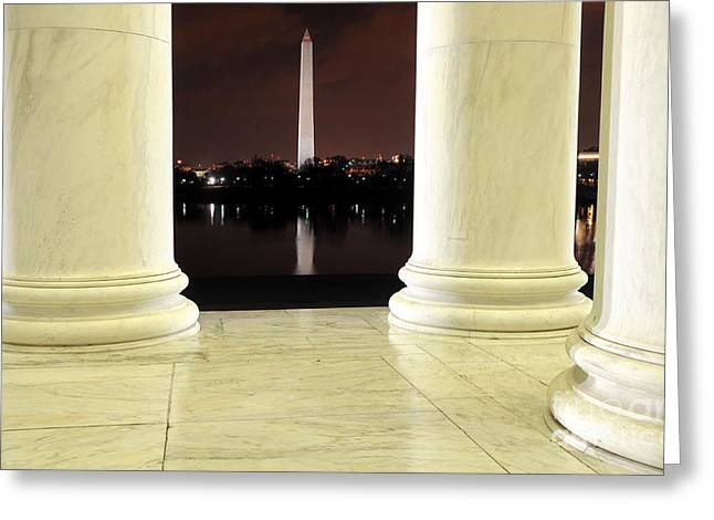 Jefferson Greeting Cards - View of Washington Monument from Jefferson Memorial at Night Greeting Card by Gary Whitton