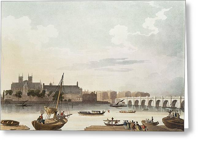 View Of Westminster And The Bridge Wc On Paper Greeting Card by English School