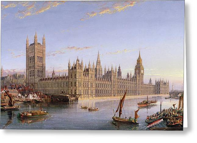 Palace Of Westminster Greeting Cards - View Of Westminster From Lambeth, 1859 Greeting Card by John MacVicar Anderson