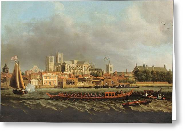River View Photographs Greeting Cards - View Of Westminster From Lambeth With A Royal Barge In The Foreground Oil On Canvas Greeting Card by Samuel Scott