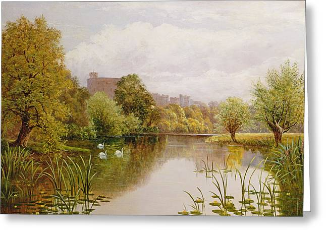 View of Windsor from the Thames Greeting Card by John Atkinson