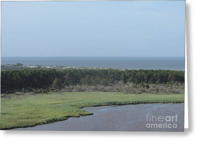 Lighthouse Greeting Cards - View off Bodie Light 2 Greeting Card by Cathy Lindsey
