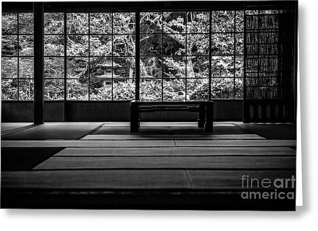 Tatami Greeting Cards - View on and Old Temple Garden Greeting Card by Dean Harte