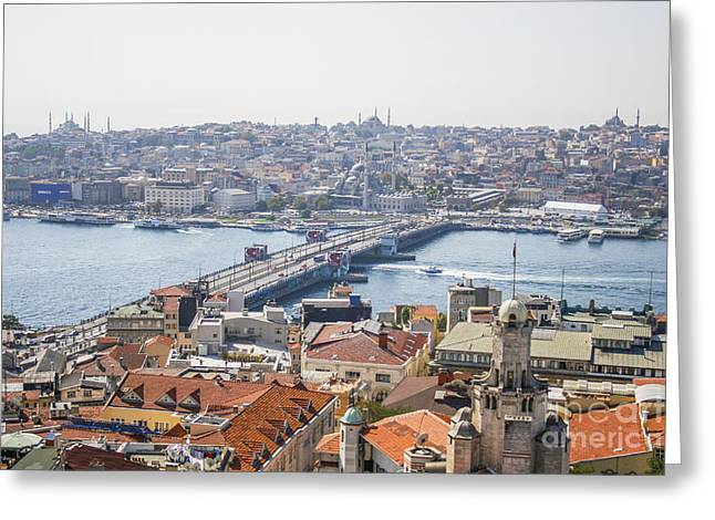 Hagia Sofia Greeting Cards - View on Istanbul and Galata bridge Greeting Card by Patricia Hofmeester