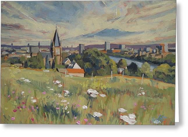 Limburg Paintings Greeting Cards - View on Maastricht Greeting Card by Nop Briex