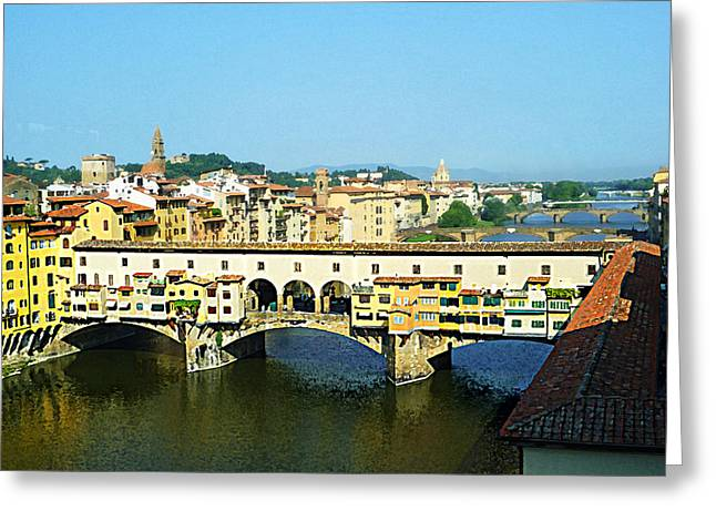 Italy History Greeting Cards - View On Ponte Vecchio From Uffizi Gallery Greeting Card by Irina Sztukowski