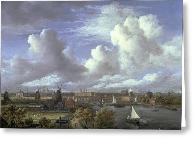Sailing Boat Greeting Cards - View On The Amstel Looking Towards Greeting Card by Jacob Isaaksz. or Isaacksz. van Ruisdael