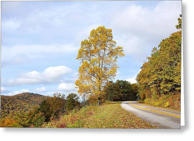 Yellow Line Greeting Cards - View on the Blue Ridge Parkway Greeting Card by Todd Hostetter