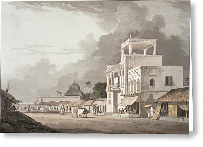 Bengal Drawings Greeting Cards - View On The Chitpore Road, Calcutta Greeting Card by Thomas Daniell