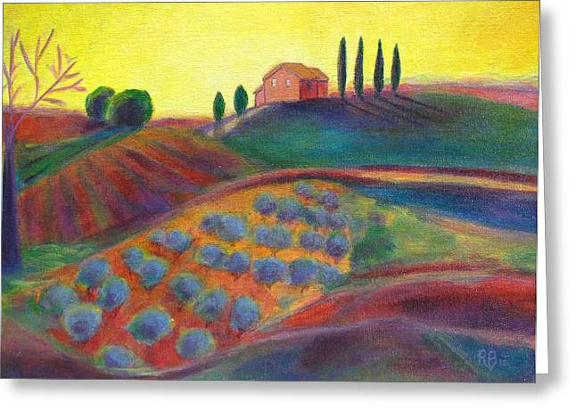 Robie Benve Greeting Cards - View on the Olive Grove Greeting Card by Robie Benve