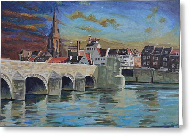 Wyck Greeting Cards - View on Wyck east bank Maastricht Greeting Card by Nop Briex