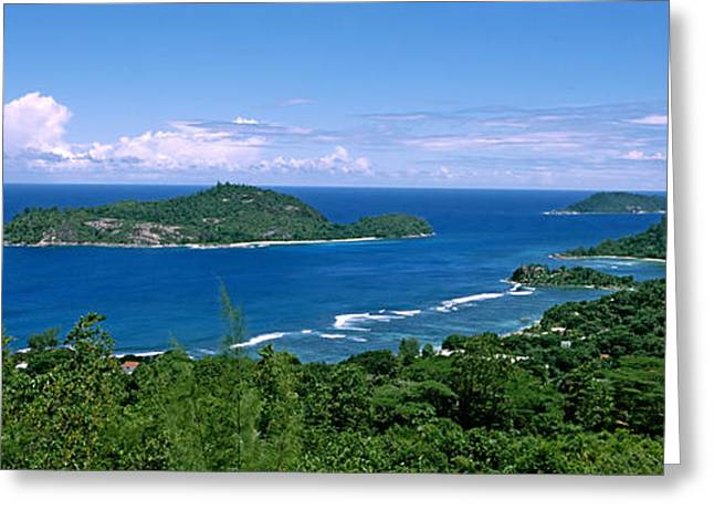 Panoramic Ocean Greeting Cards - View Over Anse Lislette And Therese Greeting Card by Panoramic Images