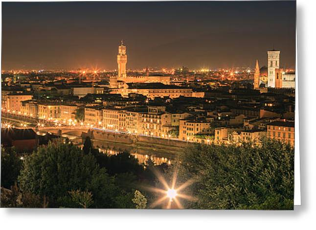 Italian Sunset Greeting Cards - View over Florence after sunset Greeting Card by Henk Meijer Photography