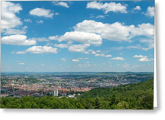 Stuttgart Greeting Cards - View Over Stuttgart From Monte Greeting Card by Panoramic Images