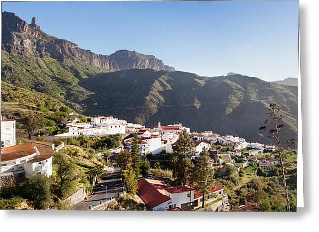 Gran Greeting Cards - View Over Tejeda To Roque Nublo, Gran Greeting Card by Panoramic Images