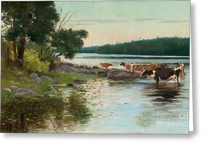 Cards Vintage Greeting Cards - View Over The Lake Greeting Card by Sigfrid August Keinanen
