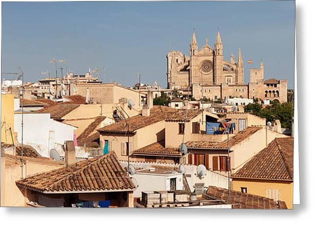 Seu Greeting Cards - View Over The Old Town Of Palma Greeting Card by Panoramic Images