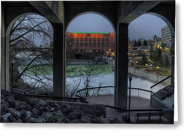 """spokane Falls"" Greeting Cards - View point Greeting Card by Michael Gass"