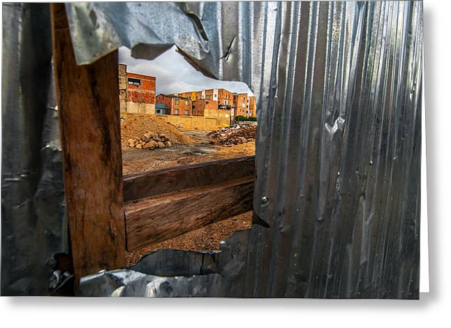 View Through A Damaged Fence Greeting Card by Jess Kraft