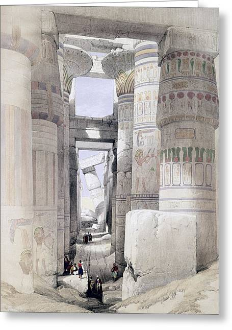 Ruin Greeting Cards - View Through The Hall Of Columns Greeting Card by David Roberts
