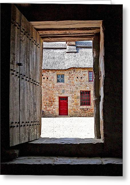 Thatch Greeting Cards - View Through The Old Door Greeting Card by Gill Billington