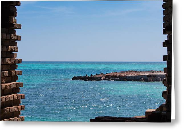 Dry Tortugas Greeting Cards - View Through the Walls of Fort Jefferson Greeting Card by John Bailey