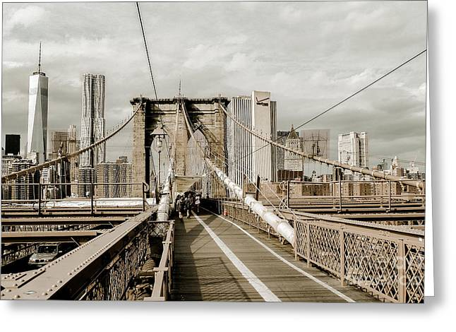 Nature Center Greeting Cards - View to One World Trade Center Brooklyn Bridge Greeting Card by  ILONA ANITA TIGGES - GOETZE  ART and Photography