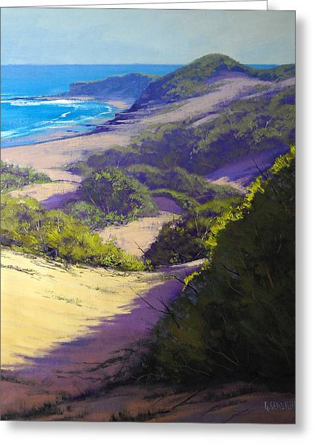 Sand Dunes Paintings Greeting Cards - View to Soldiers Beach Greeting Card by Graham Gercken