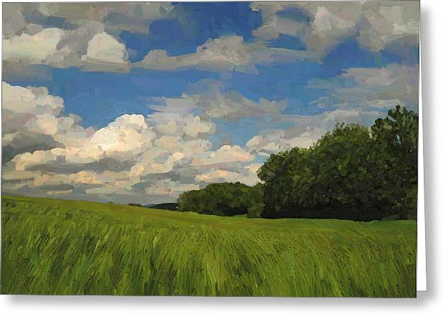 Limburg Digital Art Greeting Cards - View to the North in Spaubeek Greeting Card by Nop Briex