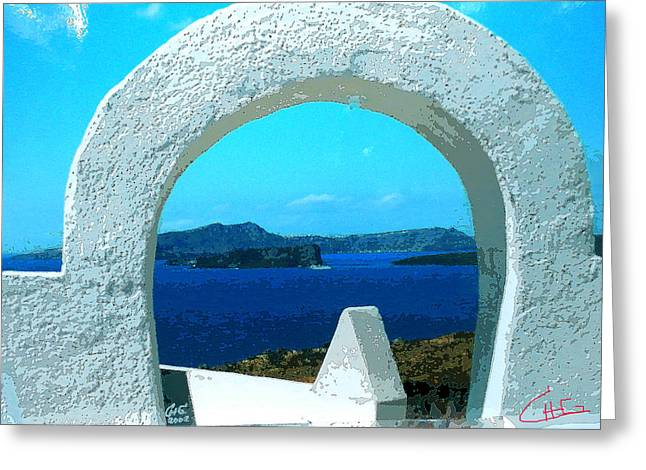 Thirasia Greeting Cards - View to Thirasia Island from Santorini Island Greece Greeting Card by Colette V Hera  Guggenheim