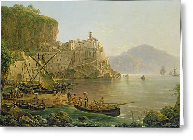 Mediterranean Landscape Greeting Cards - View Towards Atrani on the Amalfi Greeting Card by Joseph Rebell