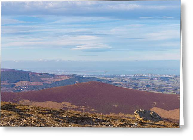 Outlook Greeting Cards - View towards Bray and Dublin from Djouce summit Greeting Card by Semmick Photo