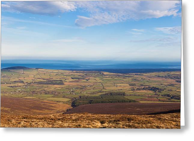 Outlook Greeting Cards - View towards Greystones from Djouce Mountain Greeting Card by Semmick Photo