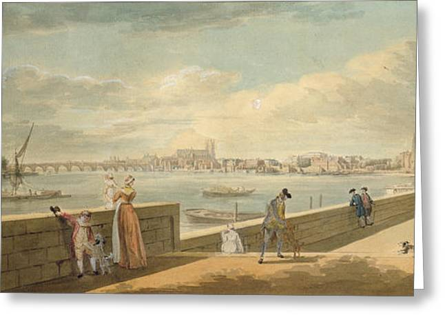 Thames Greeting Cards - View Towards Westminster From The Terrace Of Somerset House Greeting Card by Paul Sandby