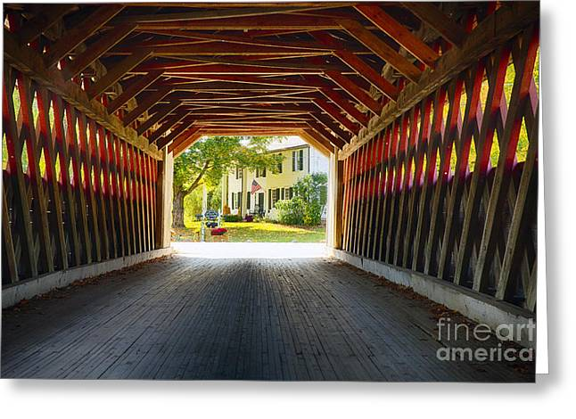 View Through A Covered Bridge Greeting Card by George Oze