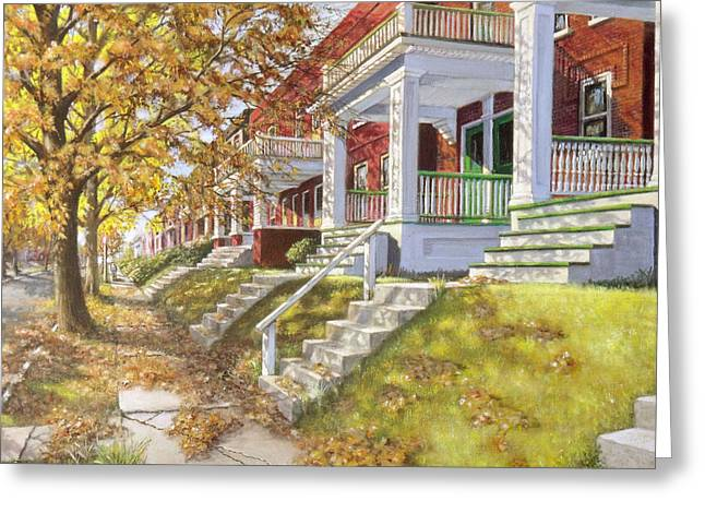 Old Street Greeting Cards - View Up the Block Greeting Card by Edward Farber