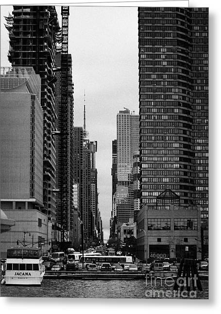 Manhaten Greeting Cards - View Up West 42nd Street From The Hudson River New York City Greeting Card by Joe Fox