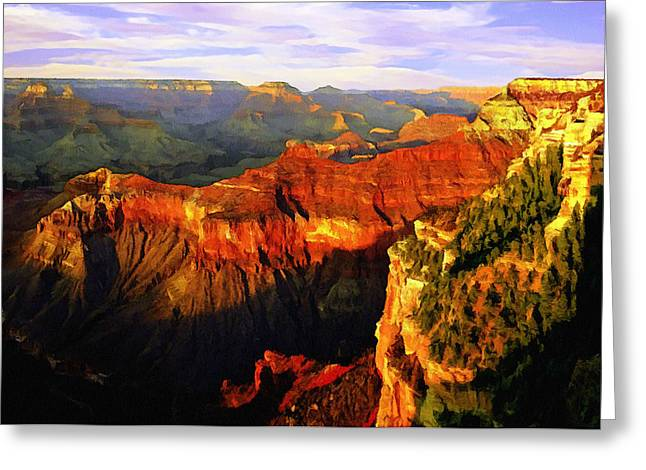Geology Mixed Media Greeting Cards - View - Yavapai Point Greeting Card by  Bob and Nadine Johnston