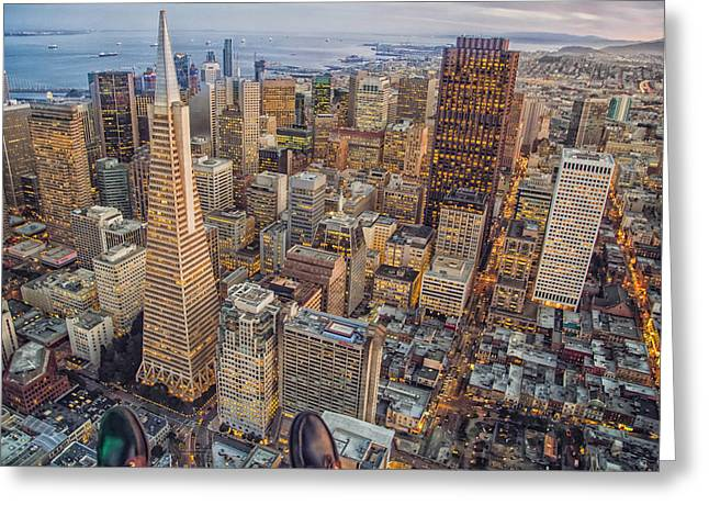 Ledge Greeting Cards - Viewing a San Francisco Sunset Greeting Card by Jared Erondu