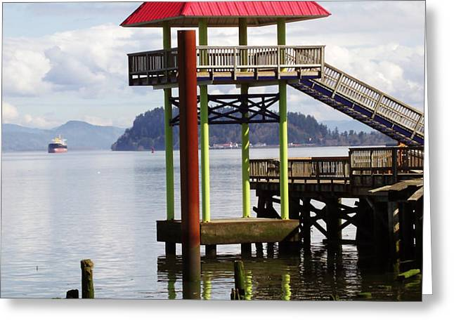 Viewing the Columbia River Greeting Card by Pamela Patch