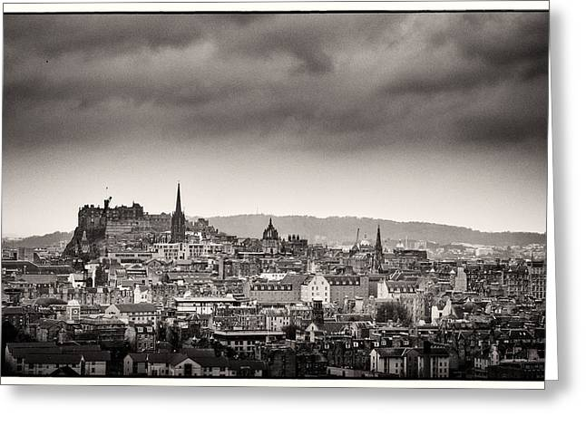 Runnycustard Greeting Cards - Views across Edinburgh Greeting Card by Lenny Carter