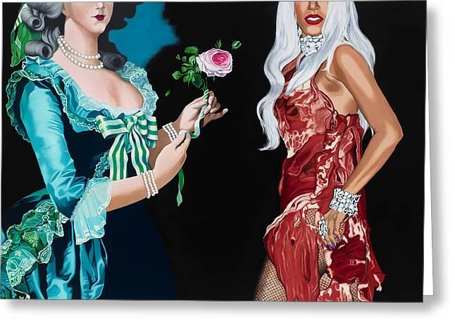 Lady Gaga Paintings Greeting Cards - Vigee Lebrun and Gaga Greeting Card by Marcella Lassen