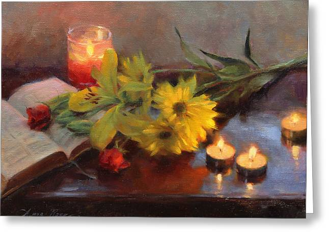 Votive Candles Greeting Cards - Vigil Greeting Card by Anna Rose Bain