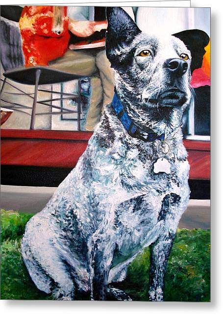 Queensland Blue Heeler Greeting Cards - Vigil Greeting Card by Mary Jungels
