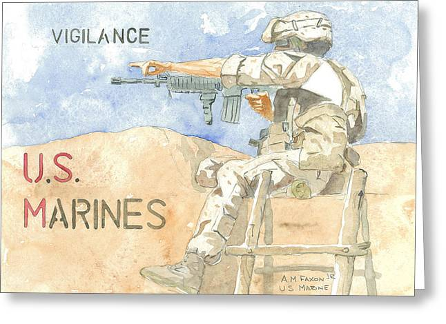 Terrorism Paintings Greeting Cards - Vigilance 1 Greeting Card by Al Faxon