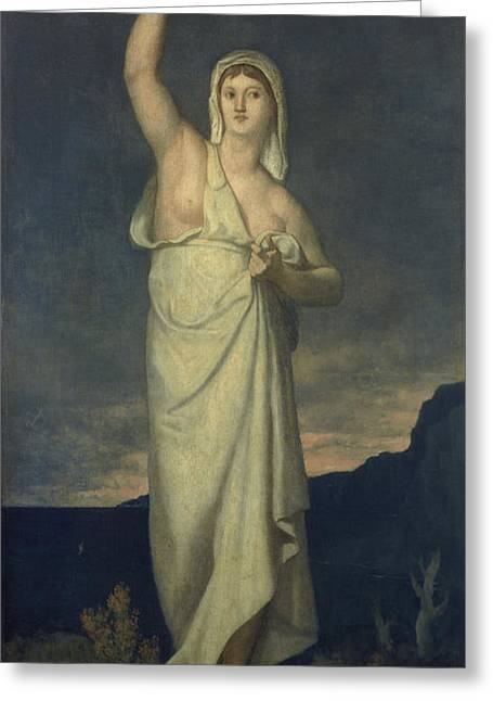 Personification Greeting Cards - Vigilance, 1867 Oil On Canvas Greeting Card by Pierre Puvis de Chavannes