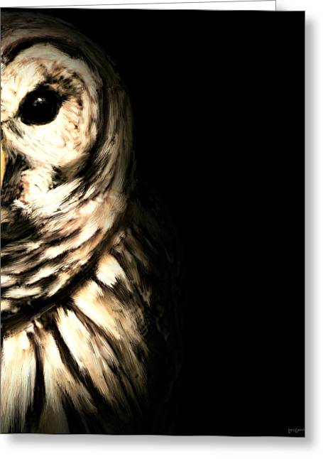 Owlets Greeting Cards - Vigilant In Darkness Greeting Card by Lourry Legarde
